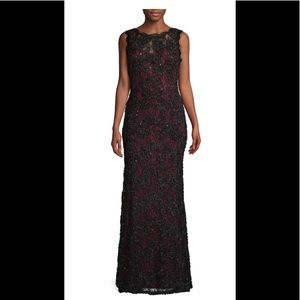 NWT JS Collections Sequin Lace Gown, Wine/Black